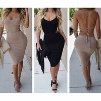 FASHION BACKLESS STITCHING DRESS
