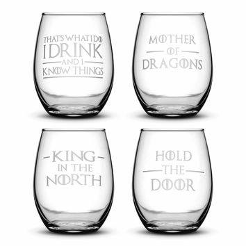 Premium Wine Glasses, Game of Thrones, I Drink and I Know Things, Mother of Dragons, King in the North, Hold the Door (Set of 4)