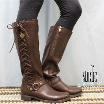 Leather boots, side lacing boot, tall boot laces,brown leather boot, fall, winter, STERLING,  brown real leather side lace up boot   SB2