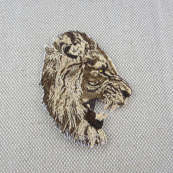 Iron-on Patch, Lion Head Patch, Embroidered Patch for Jeans, Backpack