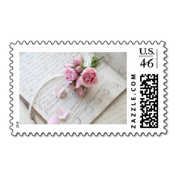 roses on 18th century page stamp