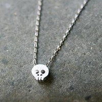SILVER TONE BLUSHED SMALL SKULL NECKLACE FOR WOMEN SKULL COSTUME JEWELRY by Kellinsilver.com - Fashion and Costume Jewelry Online as ETSY