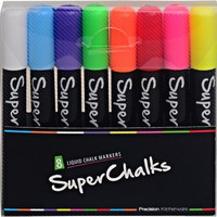 SuperChalks Color Liquid Chalk Marker Pens 8-pack - 4mm Reversible Tip - ONLY SUITABLE FOR NON POROUS SURFACES
