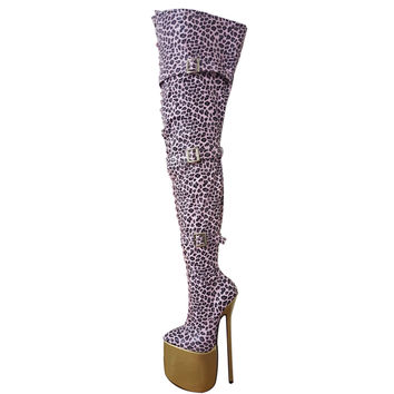 "New 12"" Heel Leopard Leather Thigh High Boots Ultra High Heel 30cm Heel Sexy Fetish Thin Heel Platform Fashion Show Crotch Boots"