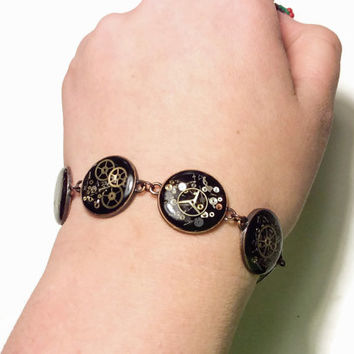 "9.5"" Steampunk Bracelet Red Copper filled with watch parts LIMITED EDITION jewelry Steampunk Wedding Bridal Bridesmaid Gift"