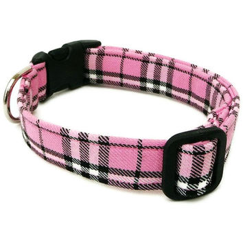 Pink Plaid Dog Collar - Pretty In Pink - Black Buckle