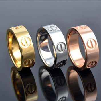 Screw Shape 3 Color Stainless Steel Unisex's Ring