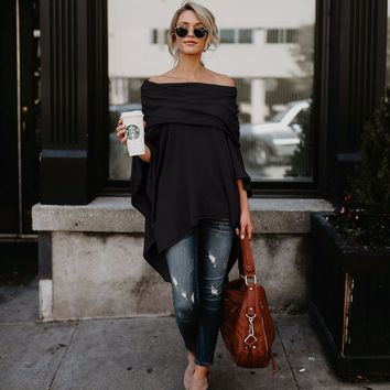 Fashion Off Shoulder Slit Irregular Loose Fit Tee Blouse Top