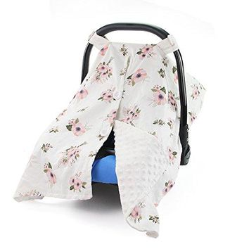 MHJY Premium Carseat Canopy Cover and Nursing Cover Organic Cotton Breathable Baby Car Canopy | Infant Car Seat Canopy for Boy or Girl | Perfect Baby Shower Gift for Breastfeeding Moms
