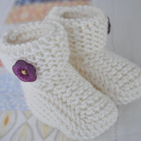 Cute Knit Baby Booties Hand Made Booties featuring pretty purple flower button baby shower gift ideas