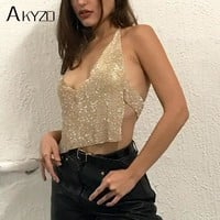 AKYZO 2017 Sexy Luxury Rhinestone Design Tank Tops Women Halter Chain Deep V Neck Backless Shining Party Club Tops Gold Silver
