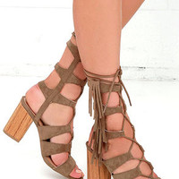 Spartacus Taupe Suede Lace-Up Heels