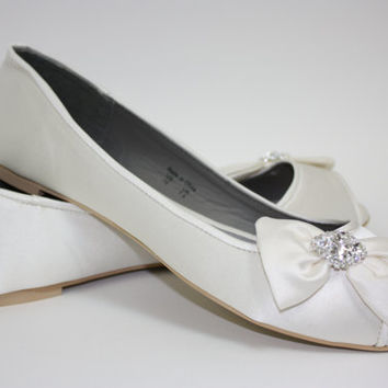 Flats - Flat Wedding Shoes - Peep Toe Wedding Flats - Choose From 14 Colors - Crystal Bling - Ballet Flat With Peep Toe - Beach Wedding Shoe