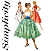 1950s Dress Pattern Uncut Simplicity 1194 2110 Full Tulle Skirt Fit and Flare Evening Garden Party Rockabilly Womens Vintage Sewing Patterns