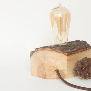Wood lamp, reclaimed wood - unique and simple minimalist, industrial home decor, loft style accent lamp great as table, desk or bedside lamp