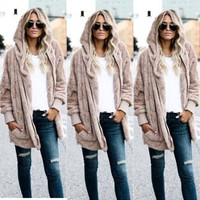 Womens Lady Warm Long Sleeve Hooded Sweatshirts  Ladies Women Winter Warm Loose Fleece Fur Hoodies Cardigan