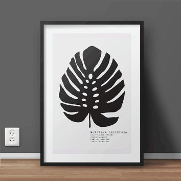 Black and White Monstera Deliciosa Printable Wall Art | Botanical Print | Minimal Print | Large print 50x70 cm