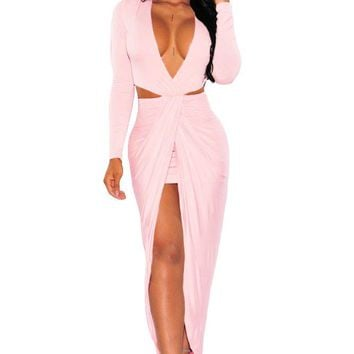 Chicloth Blush Cut Out Drape Slit Long Sleeve Maxi Dress