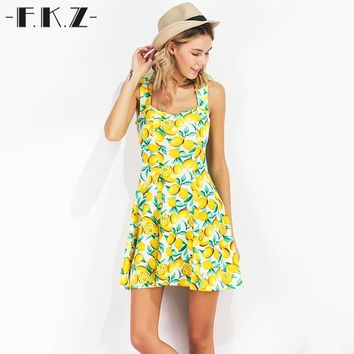 FKZ New Summer Dress Women Fruit Lemon Printed Sleeveless Sexy Dresses Mini Sundress Deep Square Collar Female Dresses SKQ1341#