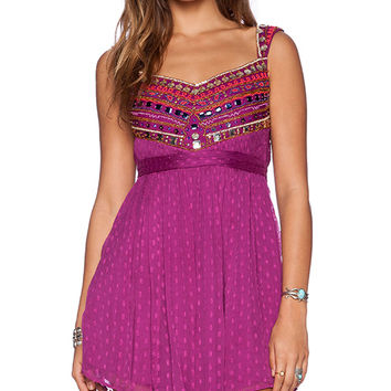 Free People Jeweled Chevron Mini Dress in Fuchsia