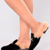 London Fur Slide - Black