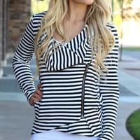 Blurred Lines Black & White Long Striped Asymmetrical Zip-Front Jacket