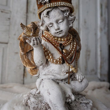 Cherub angel blue bird statue French Santos inspired handmade crown adorned angelic figure shabby cottage chic home decor Anita Spero Design