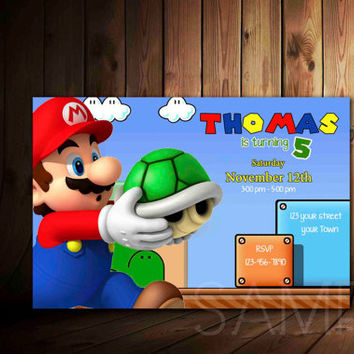 Super Mario Birthday Invitation