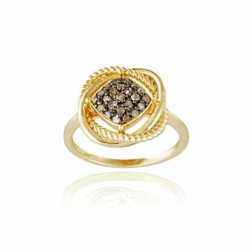 18K Gold over Sterling Silver 1/4ct Champagne Diamond Love Knot Ring Size 7