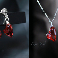 Set Earrings and Pendant, Necklace, Heart Earrings posts, Red Heart Pendant Silver,