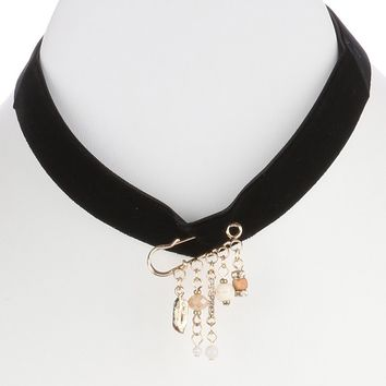 Safety Pin Charm Velvety Fabric Choker Necklace