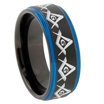8mm Masonic Square and Compass Blue Step Edges Tungsten Carbide Mens Wedding Ring