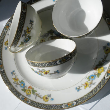 Vintage, Noritake Paisley Tea Cup and Saucer, Urn of Fruit and Flowers