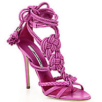 Brian Atwood - Knotted Braided Leather Ankle-Tie Sandals - Saks Fifth Avenue Mobile