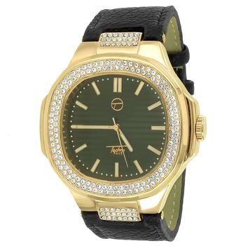 Iced Out 14k Rose Gold Finish Square Face Black Leather Band Watch
