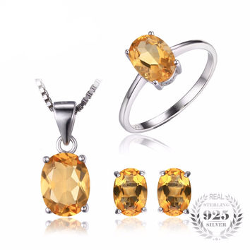 .925 Solid Silver Citrine Ring Pendant Necklace & Earrings Set