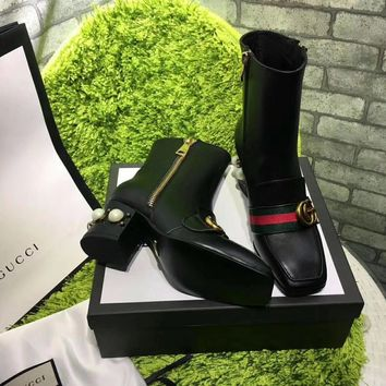 GUCCI Trending Women Fashion Print black leather Ankle mid boot sneaker Shoes Boots GUCCI GG Flat Heel Best Quality