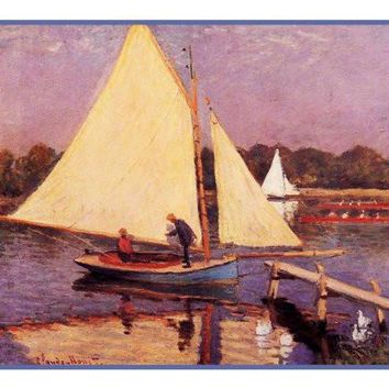 Boaters in Argenteuil inspired by Claude Monet's impressionist painting Counted Cross Stitch or Counted Needlepoint Pattern