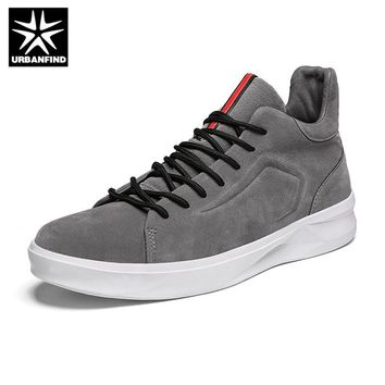URBANFIND Designer Men Fashion Sneakers High Top Stamping Pattern Man Suede Leather Casual Shoes Lace-up Platform Shoes