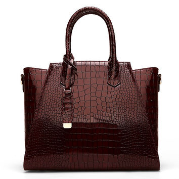 2016 Fashion Luxury Women Croc Genuine Leather Handbags Famous Designer Purses And Handbags Female Alligator Pattern Brands Bags