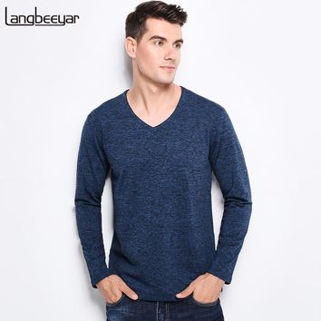 New Fashion Brand Men Clothes Tee Shirt V-Neck Slim Fit Long Sleeve T Shirt Men Solid Color High-quality Casual Mens T Shirts