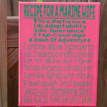 USMC A Marine Wife Recipe Canvas, 9x12 Digitally Printed Canvas