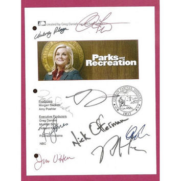 Parks and Recreation TV Script Signature Autographs Amy Poehler, Rashida Jones, Nick Offerman, Rob Lowe
