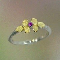 Tiny Hydrangea and Pink Sapphire ring 18k by PatrickIrlaJewelry