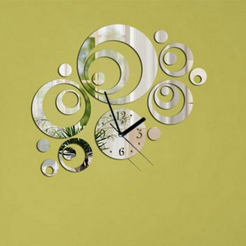 New DIY Clock Ring Circle Mirror Reflection Acrylic Home Decorative Wall Clock