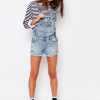 Pull&Bear Denim Overalls With Zipper Pockets