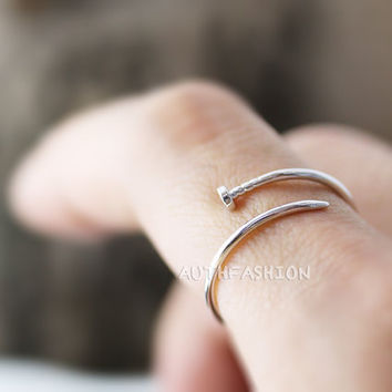 Simple Thin Nail Ring Unique Ring Jewelry Silver Plated Wrap Ring gift idea 1piece