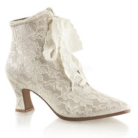 Victorian Champaigne Beige Lace Ankle Boot Wedding Shoe