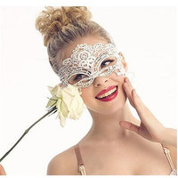 1PC White Sexy Lady Lace Mask Cutout Eye Mask For Masquerade Party Fancy Dress Costume Ladies Anonymous Mask Venetian Carnival