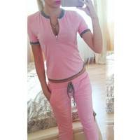 2018 Sportswear 2 Piece Set Top & Pants Running Set  Workout clothes for Women Suit pink Gym Set Clothing